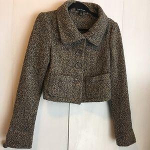 CLUB MONACO Brown Tweed cropped blazer size Small